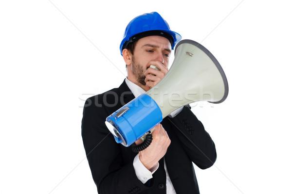 üzletember visel munkavédelmi sisak tart megafon gyártmány Stock fotó © stryjek