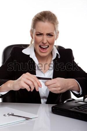 üzletasszony dob dühroham tart hitelkártya kezek Stock fotó © stryjek