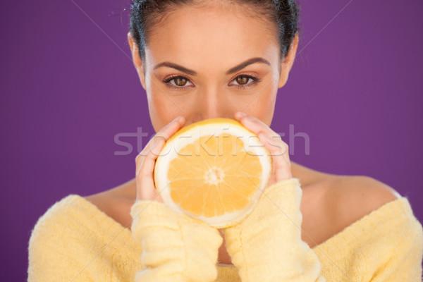 Donna arancione bella occhi fresche Foto d'archivio © stryjek