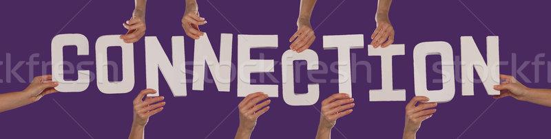 белый алфавит правописание связи вверх Purple Сток-фото © stryjek