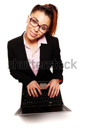 Overhead view of a thoughtful businesswoman Stock photo © stryjek