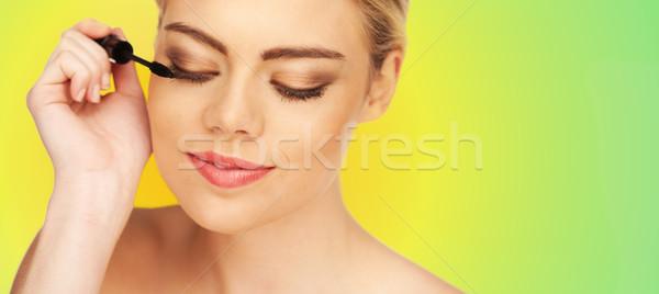Primo piano ritratto giovani bella ragazza perfetto pelle Foto d'archivio © stryjek