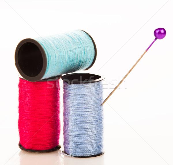 Trois coton broches coloré fils plastique Photo stock © stryjek