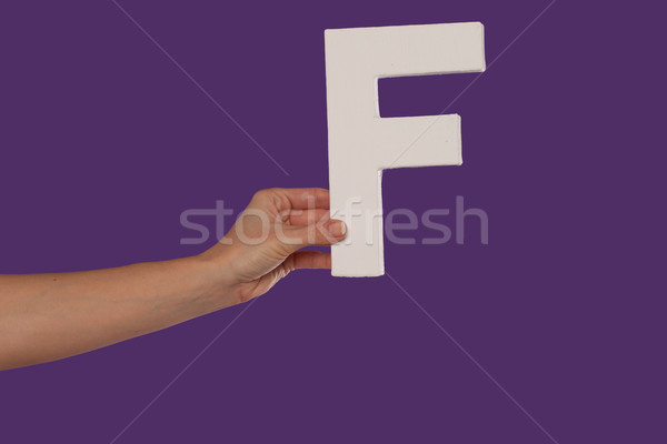 Female hand holding up the letter F from the left Stock photo © stryjek