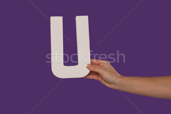 Female hand holding up the letter U from the right Stock photo © stryjek