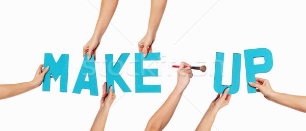 Turquesa alfabeto ortografia make-up azul cosmético Foto stock © stryjek