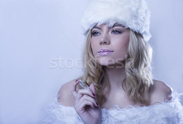 Beautitul woman in white winter fur Stock photo © stryjek