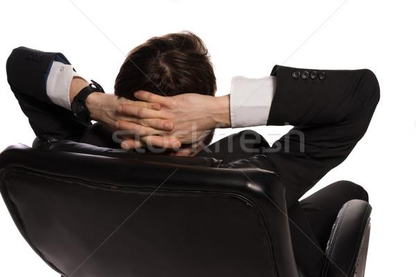 бизнесмен сидят удобный Председатель вид сзади Сток-фото © stryjek