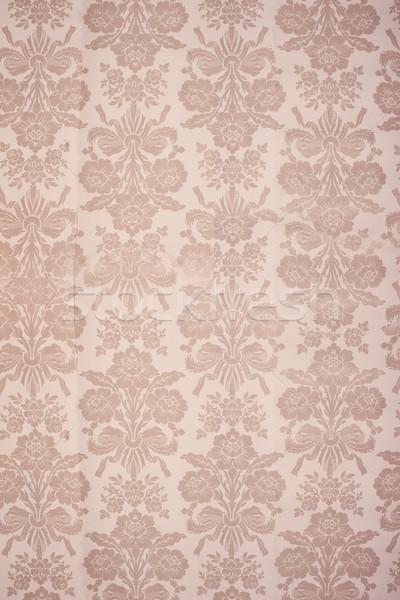 Vintage floreale wallpaper beige fiori Foto d'archivio © stryjek