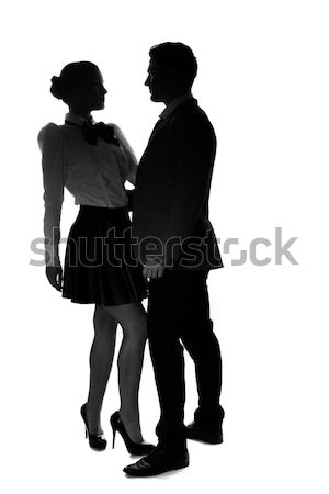 Loving young couple in silhouette Stock photo © stryjek