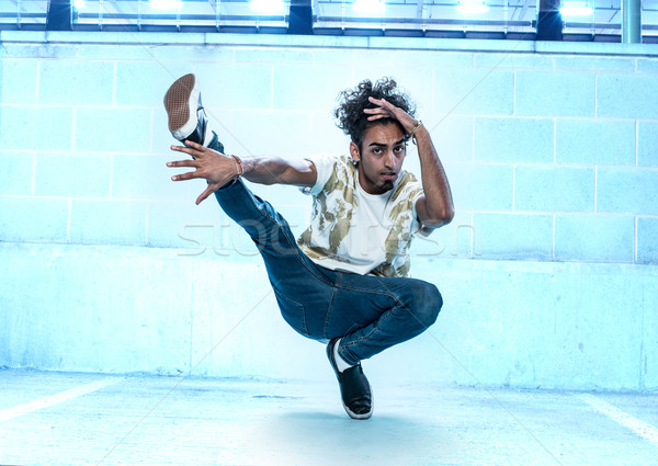 Male Hip Hop Dancer Dancing Inside a Building Stock photo © stryjek