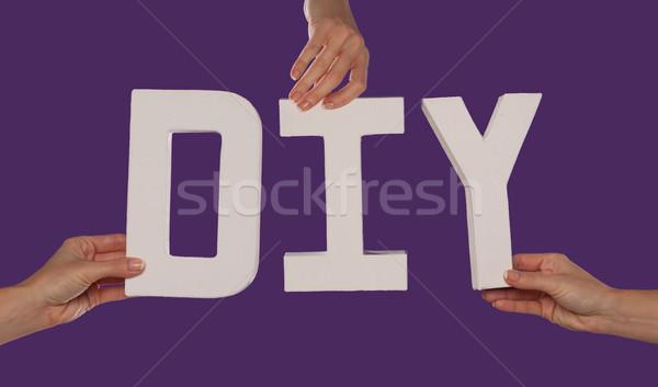 белый алфавит правописание вверх Purple Сток-фото © stryjek