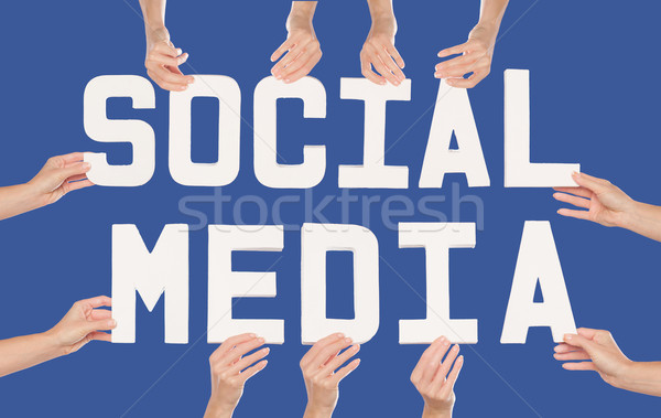 Social Media concept over blue Stock photo © stryjek