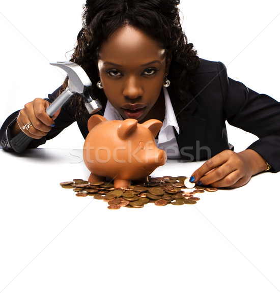 beautiful african american woman with a piggybank Stock photo © stryjek