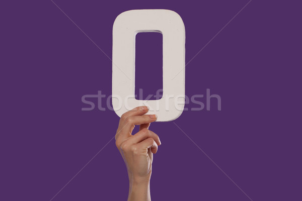 Female hand holding up the number 0 from the top Stock photo © stryjek