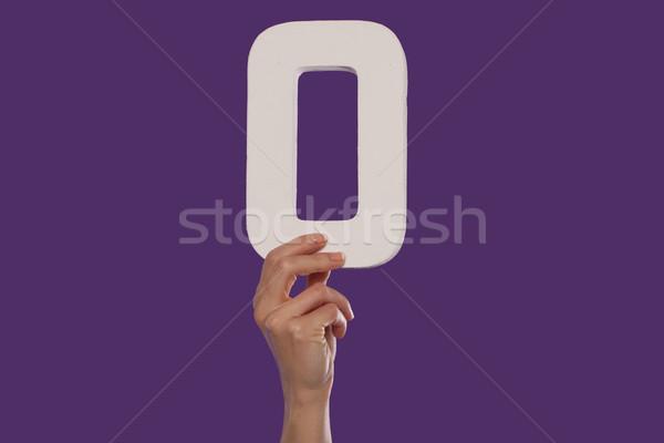 Vrouwelijke hand aantal top paars Stockfoto © stryjek