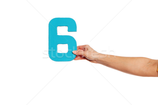 hand holding up the number six from the right Stock photo © stryjek
