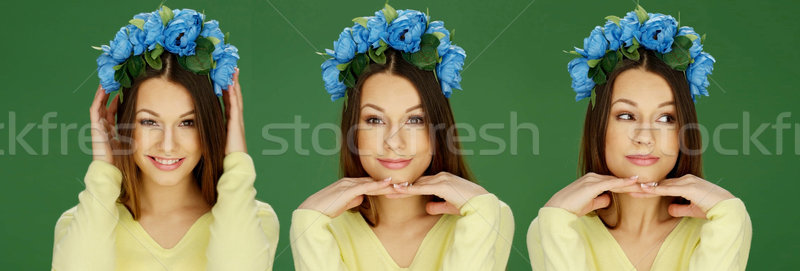Pretty young woman with blue roses Stock photo © stryjek
