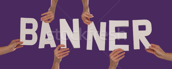 белый алфавит правописание баннер вверх Purple Сток-фото © stryjek