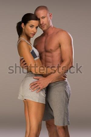 Stok fotoğraf: Atış · tutkulu · gençler · sevmek · erkek · göğüs