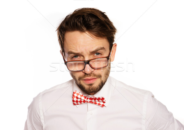 Old-fashioned nerdy businessman Stock photo © stryjek