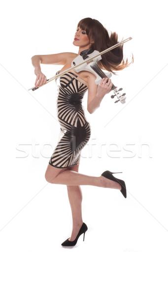 Stylish elegant woman playing a violin Stock photo © stryjek