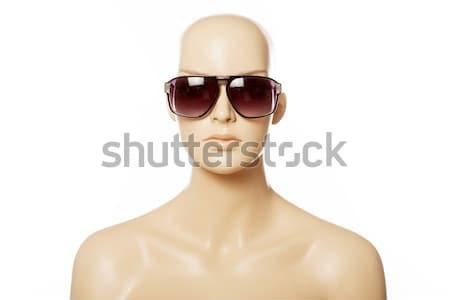 Szőke nő arany szemüveg elöl kilátás portré Stock fotó © stryjek