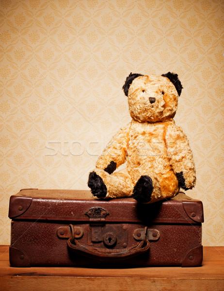 Сток-фото: Vintage · мишка · старые · кожа · чемодан · путешествия