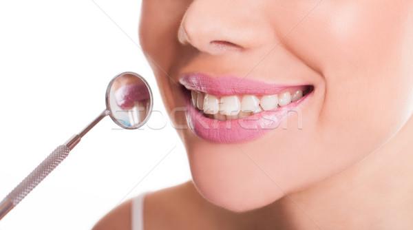 Mosolyog száj nő mutat egészséges fogak Stock fotó © stryjek