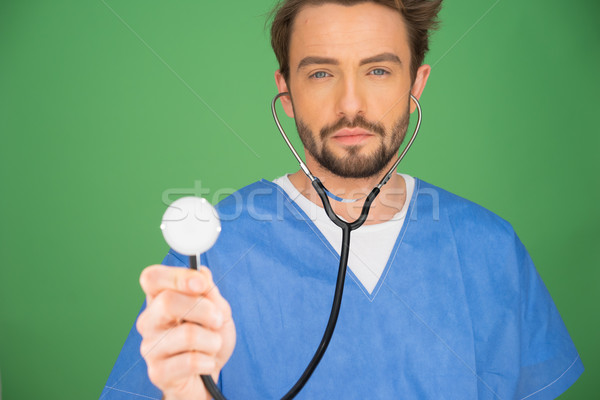 Anaesthetist or doctor holding a stethoscope Stock photo © stryjek