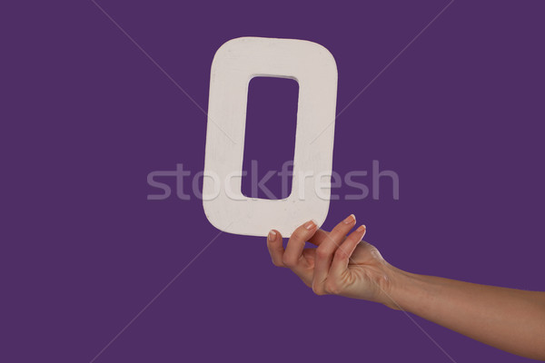 Female hand holding up the number 0 from the right Stock photo © stryjek