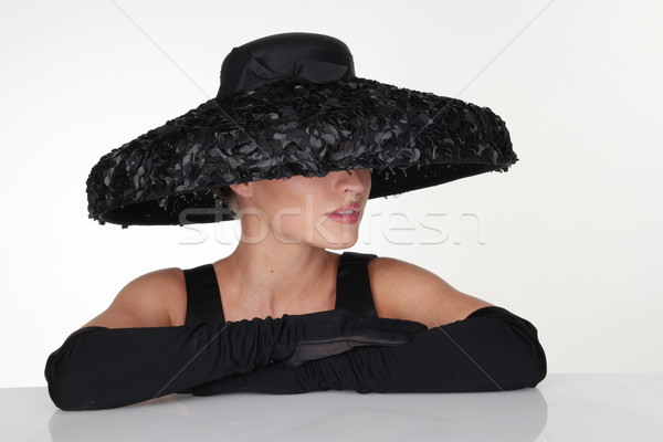 Elegant Woman Wearing Black Hat and Gloves Stock photo © stryjek