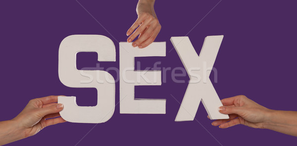 Blanche alphabet orthographe sexe up pourpre Photo stock © stryjek