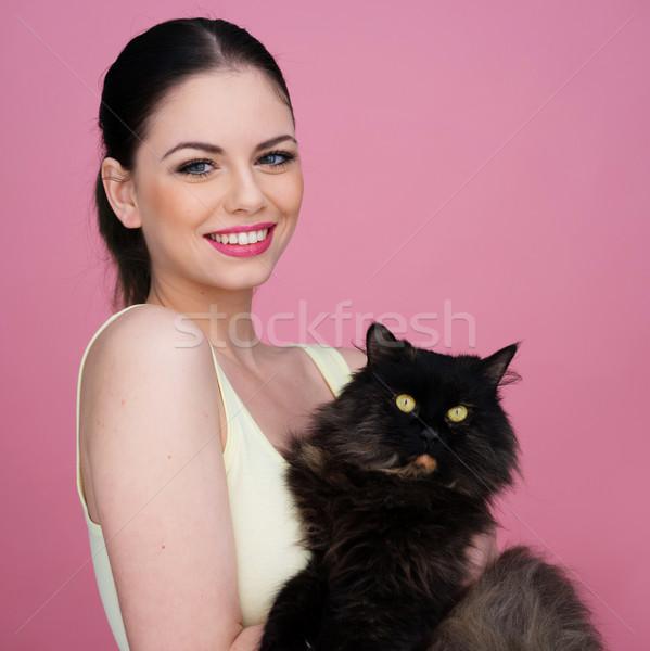 美人 黒猫 笑みを浮かべて 楽しく カメラ ストックフォト © stryjek