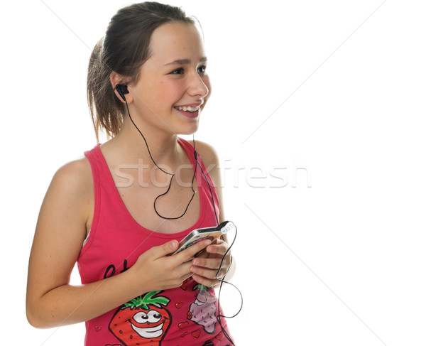 幸せ 若い女の子 音楽 笑みを浮かべて 喜び ストックフォト © stryjek