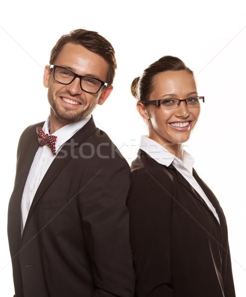 Pár visel napszemüveg izolált fehér üzlet Stock fotó © stryjek
