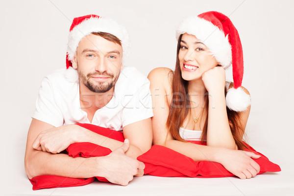 Boldog fiatal pér karácsony hangulat visel mikulás Stock fotó © stryjek