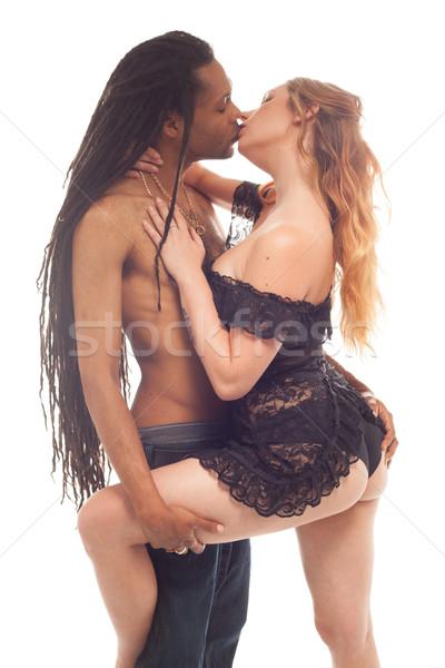 Cute Couple intimately kissing wearing lingerie Stock photo © stryjek