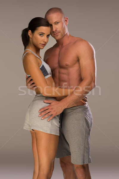 Very Seductive Couple in Body Fitness Pose Stock photo © stryjek
