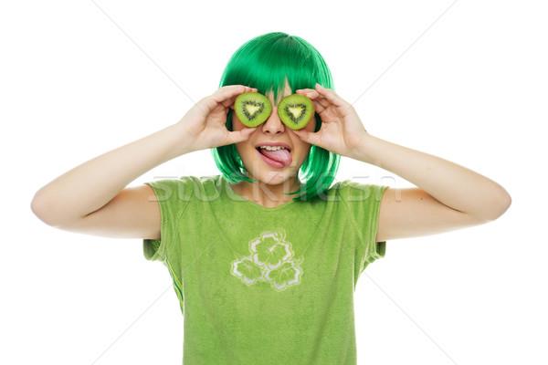 かわいい 若い女の子 緑 かつら Tシャツ ストックフォト © stryjek