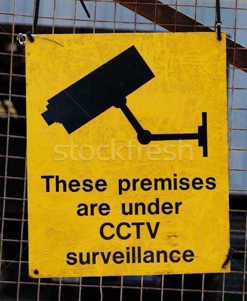 Yellow warning sign for CCTV surveillance Stock photo © stryjek