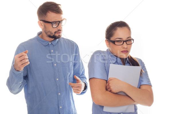 Abusive work partner frightens female co-worker Stock photo © stryjek