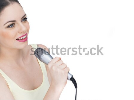 Hermosa cantando micrófono cola de caballo pie Foto stock © stryjek