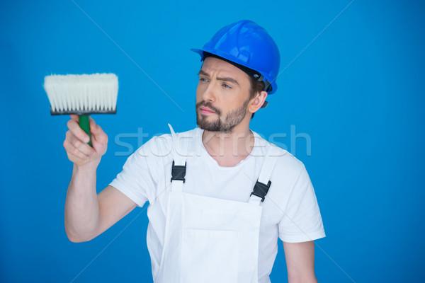 Ressam fırça boya çekici sakallı genç Stok fotoğraf © stryjek