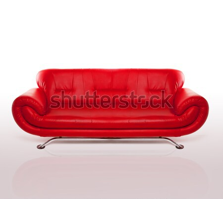 Modern Red Leather Couch Stock photo © stryjek