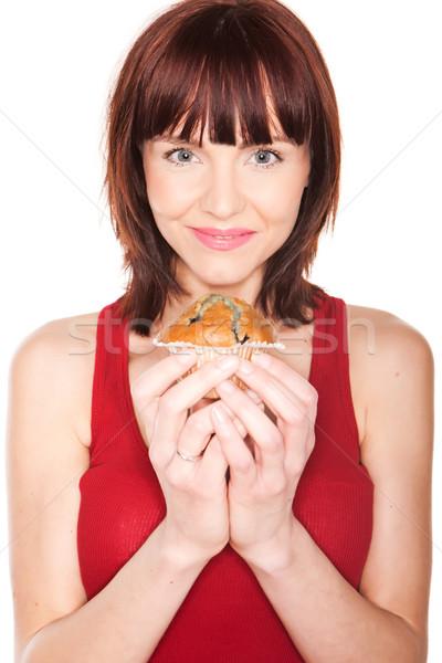Mulher grande bolinho sorridente Foto stock © stryjek
