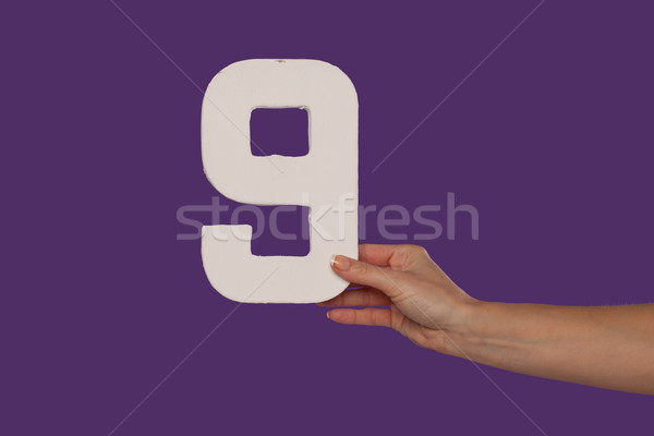 Female hand holding up the number 9 from the right Stock photo © stryjek