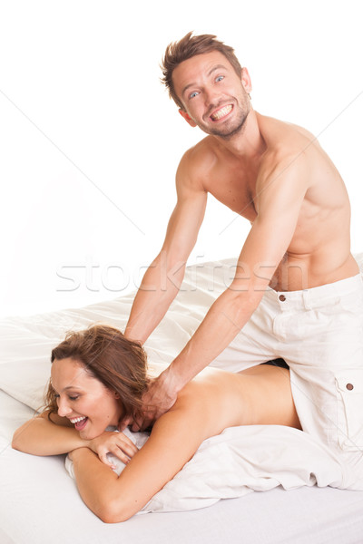 Playful man giving his wife a massage Stock photo © stryjek