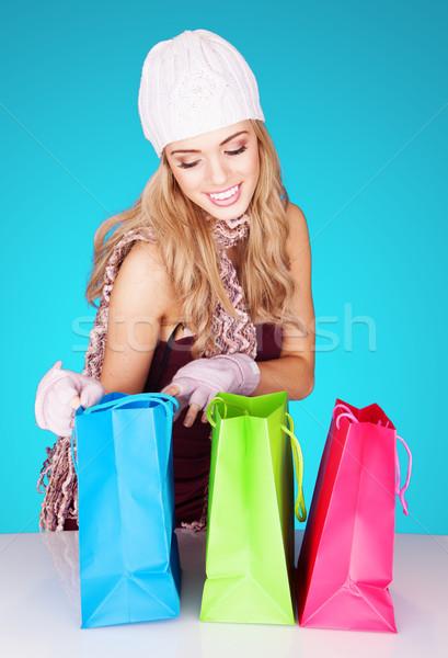 Encantado mulher belo loiro sorridente Foto stock © stryjek