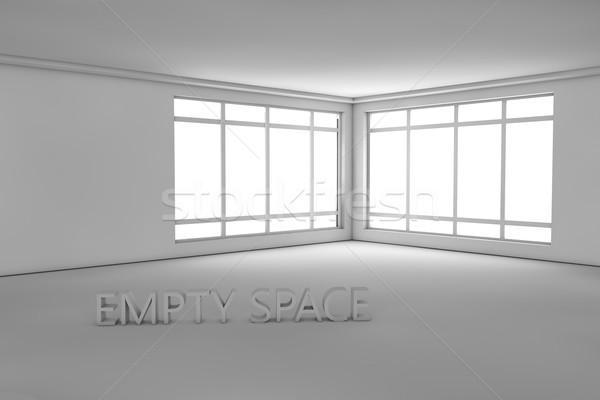 Witte lege kamer tekst monster huis hout Stockfoto © stryjek